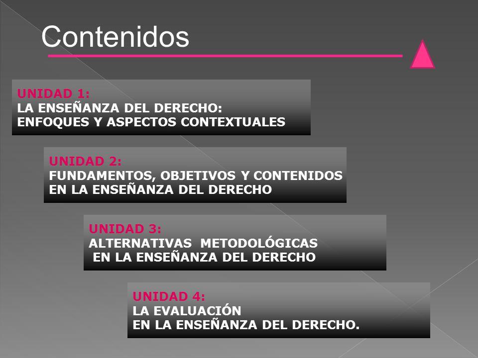 Contenidos UNIDAD 1: LA ENSEÑANZA DEL DERECHO: ENFOQUES Y ASPECTOS CONTEXTUALES UNIDAD 2: FUNDAMENTOS, OBJETIVOS Y CONTENIDOS EN LA ENSEÑANZA DEL DERE