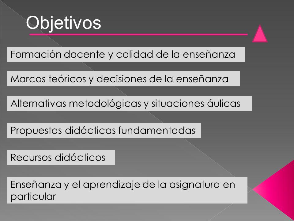 Recursos didácticos Objetivos Formación docente y calidad de la enseñanza Marcos teóricos y decisiones de la enseñanza Alternativas metodológicas y si