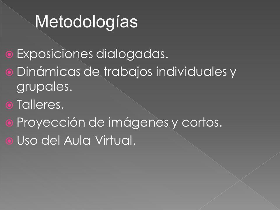 Exposiciones dialogadas. Dinámicas de trabajos individuales y grupales. Talleres. Proyección de imágenes y cortos. Uso del Aula Virtual. Metodologías
