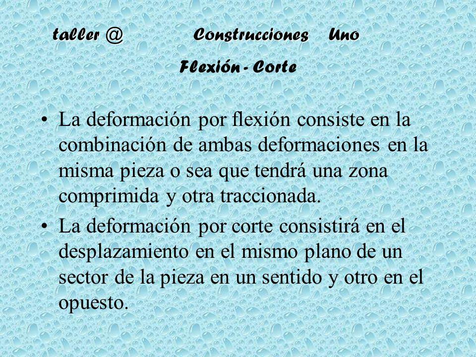 Flexión - Corte La deformación por flexión consiste en la combinación de ambas deformaciones en la misma pieza o sea que tendrá una zona comprimida y