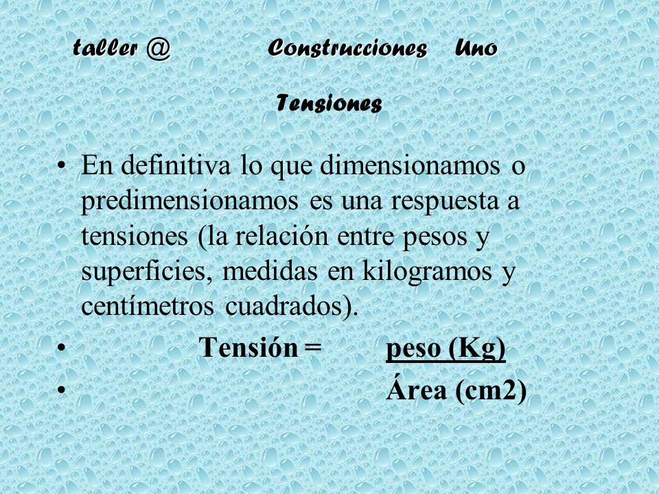 taller @ Construcciones Uno Tensiones En definitiva lo que dimensionamos o predimensionamos es una respuesta a tensiones (la relación entre pesos y su