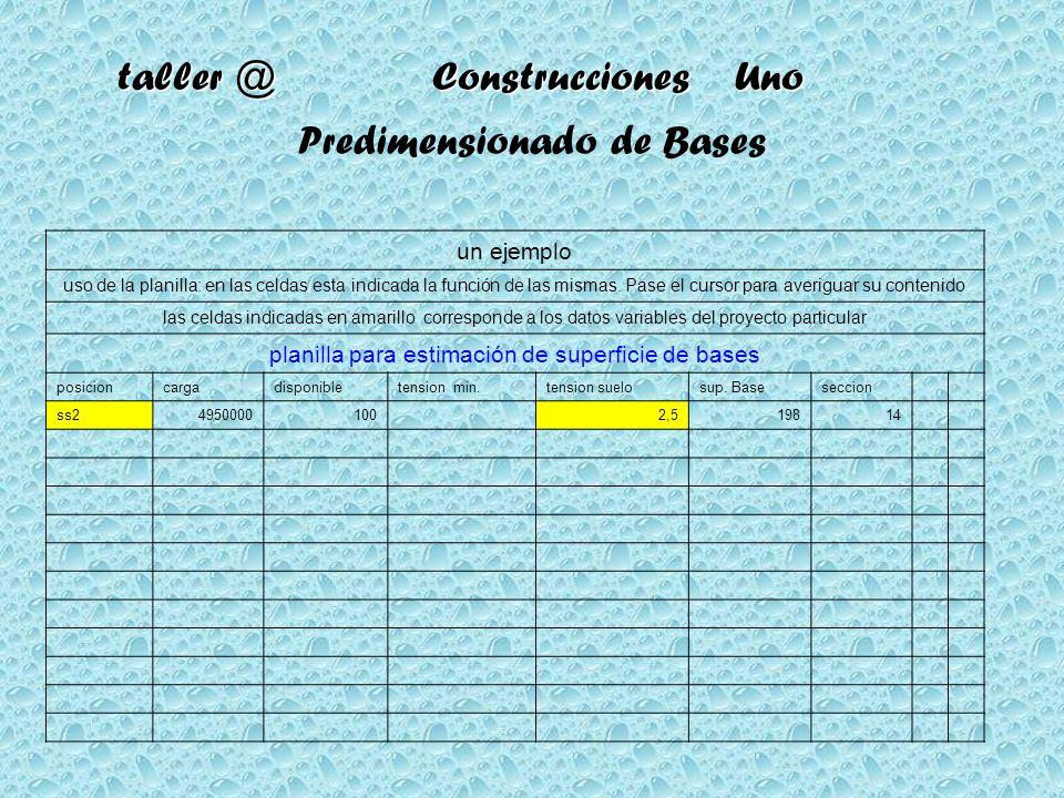 taller @ Construcciones Uno Predimensionado de Bases un ejemplo uso de la planilla: en las celdas esta indicada la función de las mismas. Pase el curs