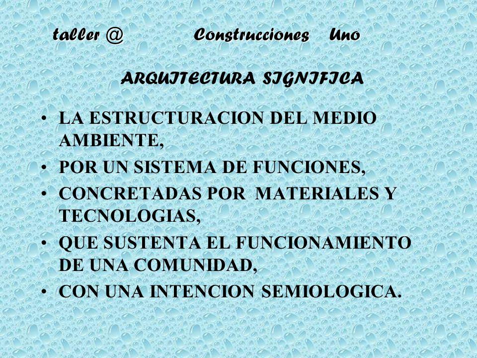 taller @ Construcciones Uno ARQUITECTURA SIGNIFICA LA ESTRUCTURACION DEL MEDIO AMBIENTE, POR UN SISTEMA DE FUNCIONES, CONCRETADAS POR MATERIALES Y TEC