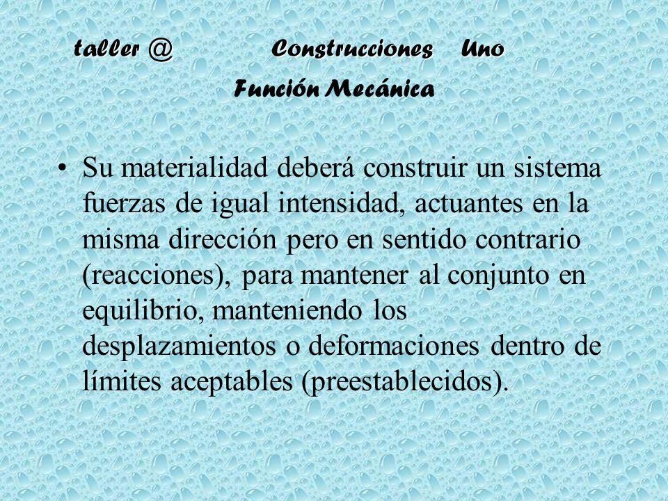taller @ Construcciones Uno Función Mecánica Su materialidad deberá construir un sistema fuerzas de igual intensidad, actuantes en la misma dirección