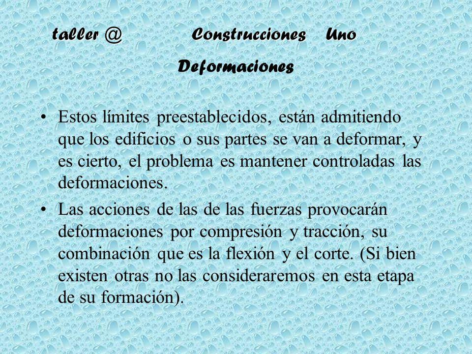 taller @ Construcciones Uno Deformaciones Estos límites preestablecidos, están admitiendo que los edificios o sus partes se van a deformar, y es ciert