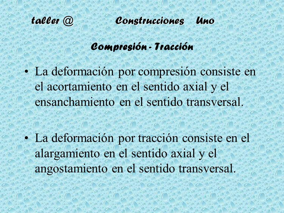 taller @ Construcciones Uno Compresión - Tracción La deformación por compresión consiste en el acortamiento en el sentido axial y el ensanchamiento en