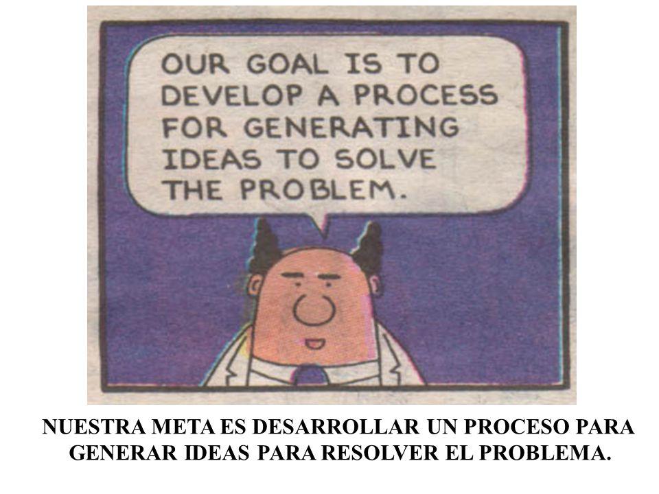 NUESTRA META ES DESARROLLAR UN PROCESO PARA GENERAR IDEAS PARA RESOLVER EL PROBLEMA.