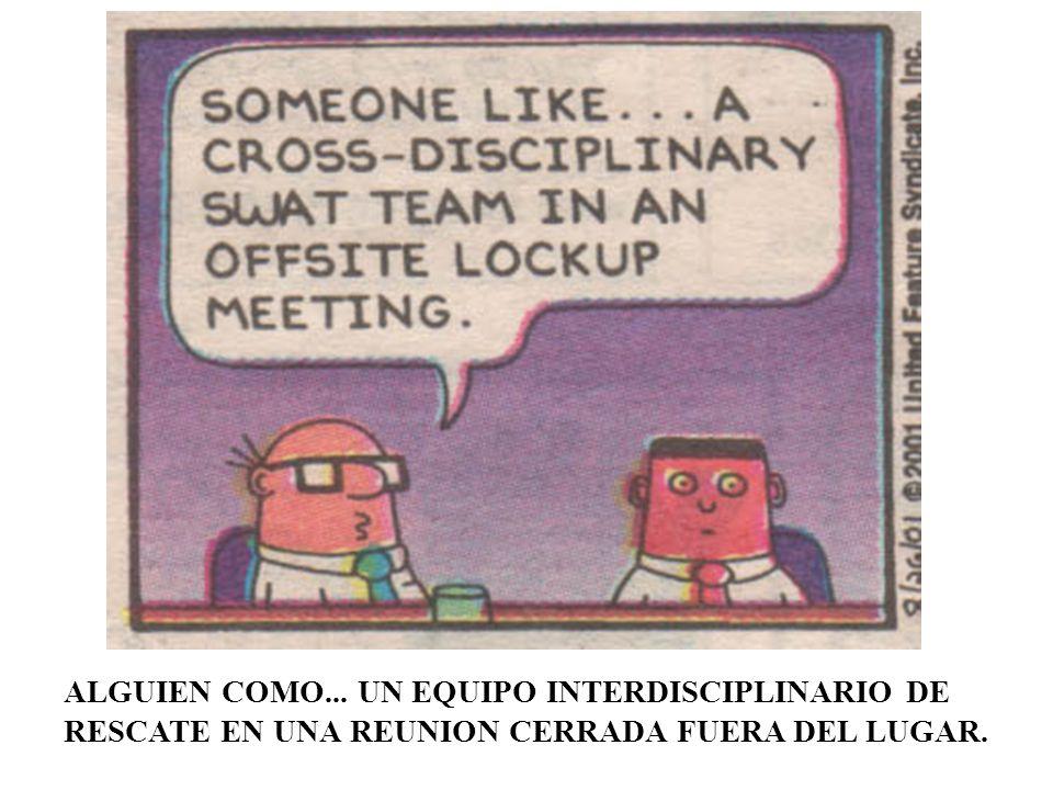 ALGUIEN COMO... UN EQUIPO INTERDISCIPLINARIO DE RESCATE EN UNA REUNION CERRADA FUERA DEL LUGAR.