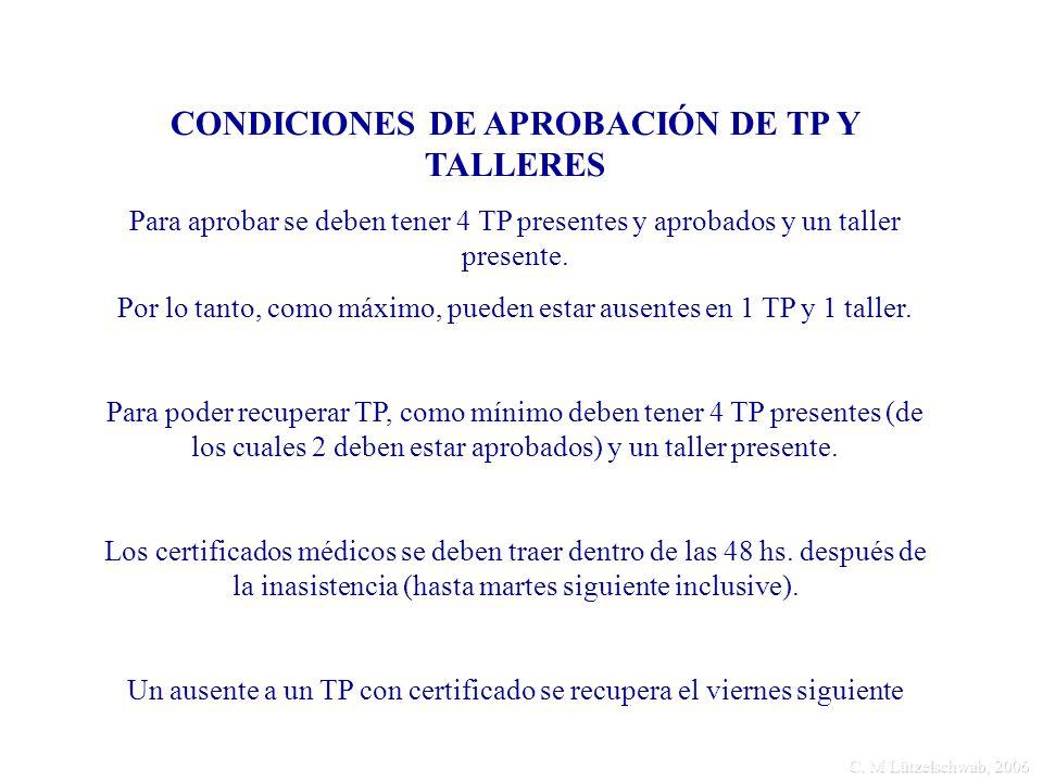 C. M Lützelschwab, 2006 CONDICIONES DE APROBACIÓN DE TP Y TALLERES Para aprobar se deben tener 4 TP presentes y aprobados y un taller presente. Por lo