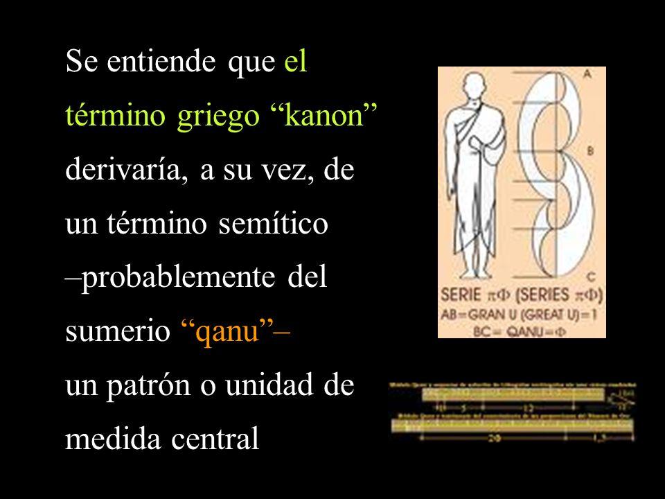 Se entiende que el término griego kanon derivaría, a su vez, de un término semítico –probablemente del sumerio qanu– un patrón o unidad de medida central