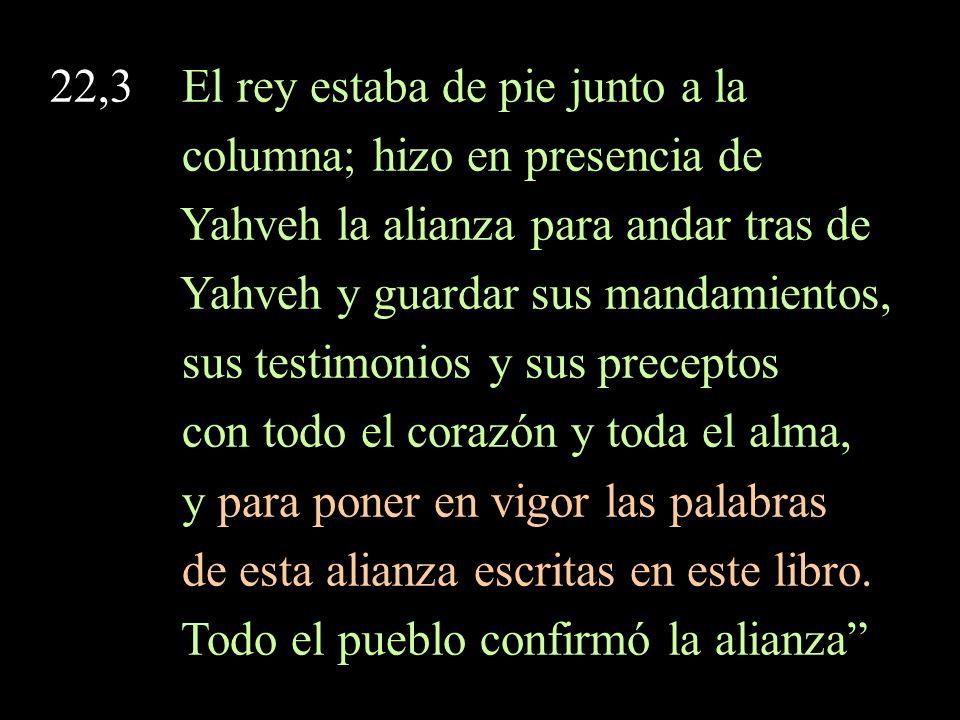 22,3 El rey estaba de pie junto a la columna; hizo en presencia de Yahveh la alianza para andar tras de Yahveh y guardar sus mandamientos, sus testimonios y sus preceptos con todo el corazón y toda el alma, y para poner en vigor las palabras de esta alianza escritas en este libro.