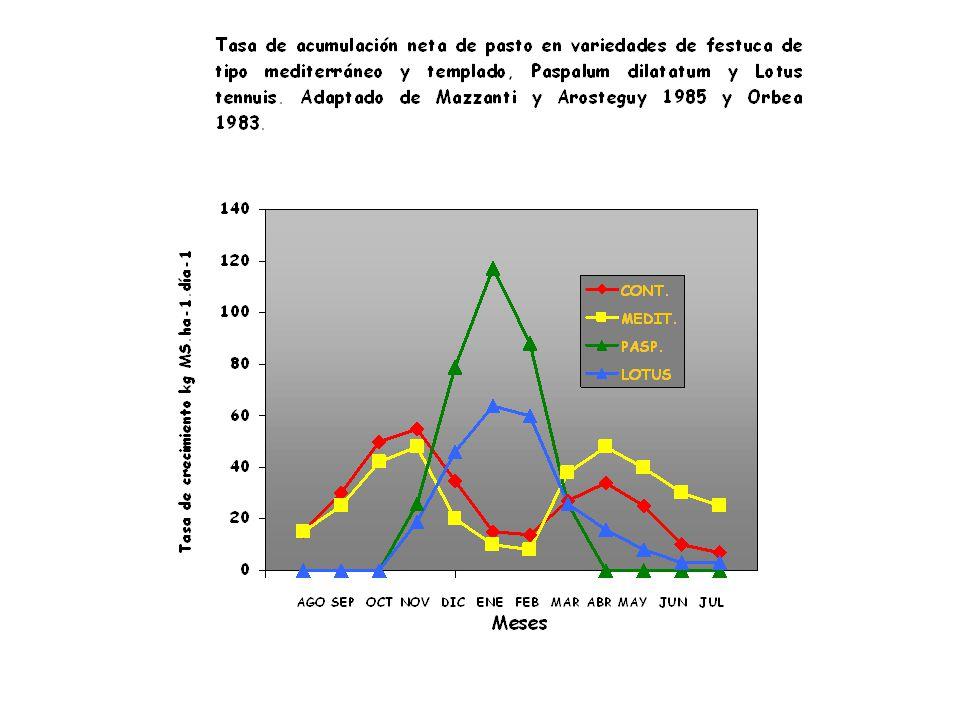 Receptividad de la oferta forrajera promedio (raciones.ha-1) integrada por pastizales de bajo dulce y media loma, y de pasturas de festuca alta y agropiro alargado, y los intervalos de confianza para cada mes