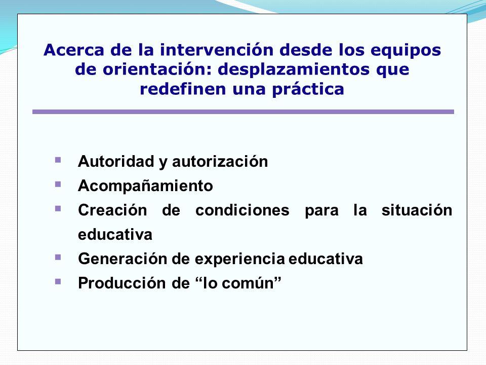Autoridad y autorización Acompañamiento Creación de condiciones para la situación educativa Generación de experiencia educativa Producción de lo común Acerca de la intervención desde los equipos de orientación: desplazamientos que redefinen una práctica