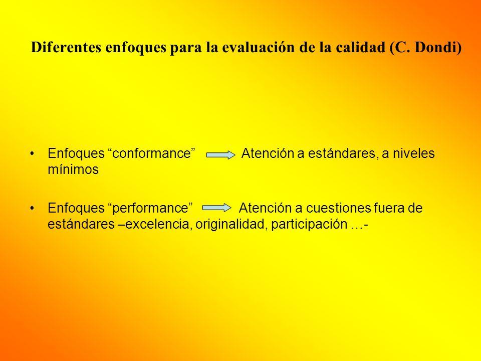 Diferentes enfoques para la evaluación de la calidad (C.