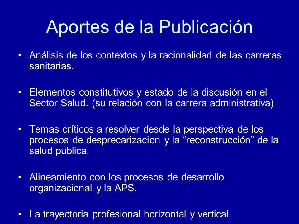 Aportes de la Publicación Análisis de los contextos y la racionalidad de las carreras sanitarias.