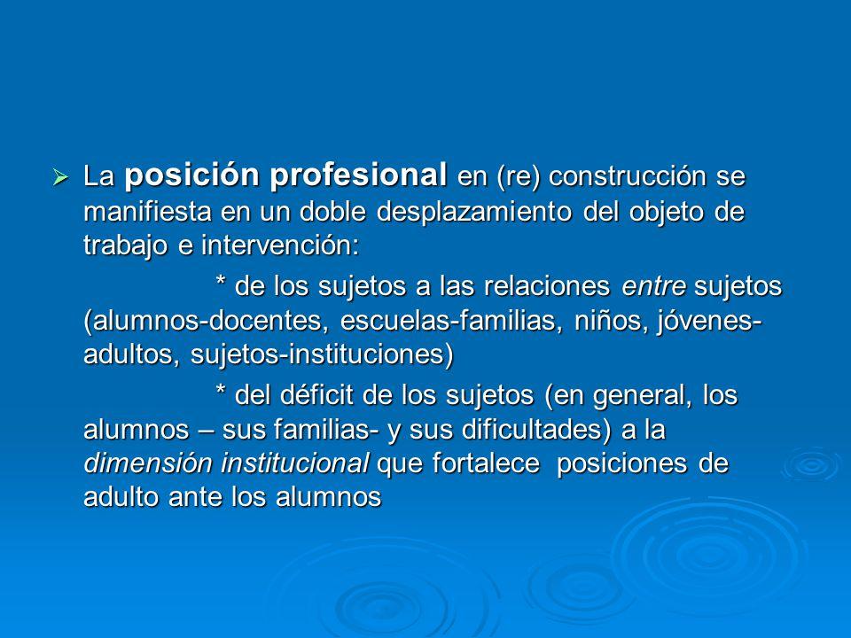 La posición profesional en (re) construcción se manifiesta en un doble desplazamiento del objeto de trabajo e intervención: La posición profesional en