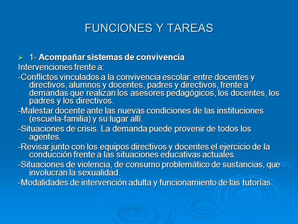 FUNCIONES Y TAREAS 1- Acompañar sistemas de convivencia 1- Acompañar sistemas de convivencia Intervenciones frente a: -Conflictos vinculados a la conv