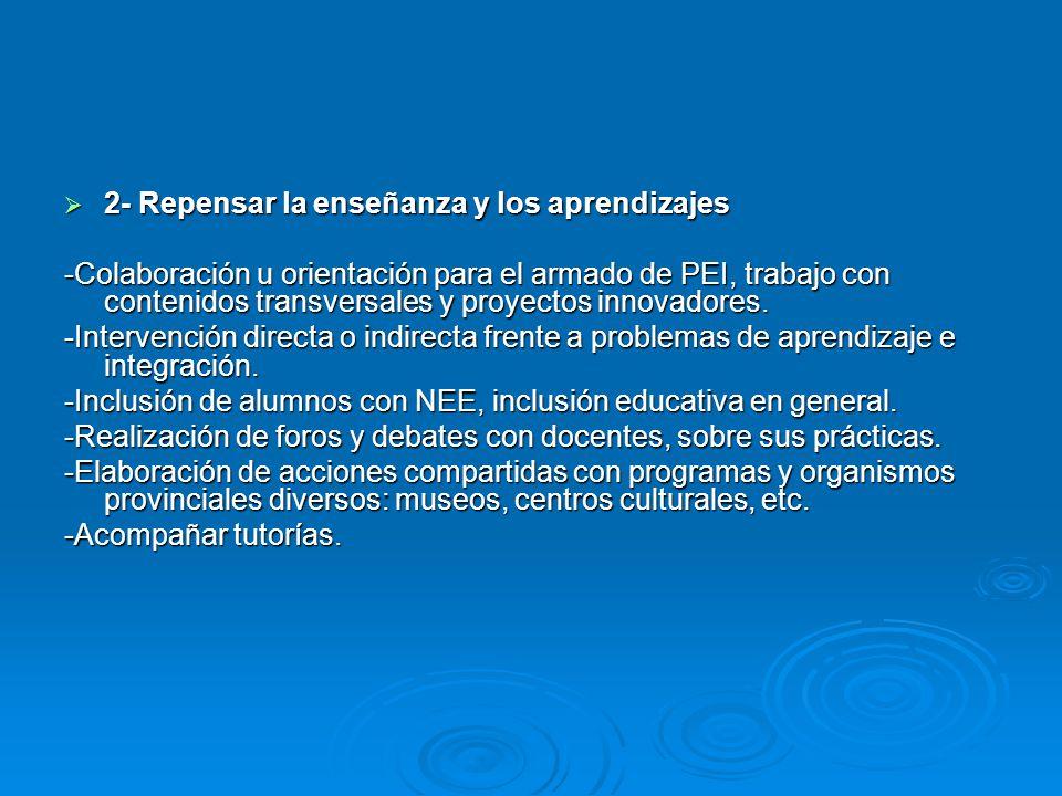 2- Repensar la enseñanza y los aprendizajes 2- Repensar la enseñanza y los aprendizajes -Colaboración u orientación para el armado de PEI, trabajo con contenidos transversales y proyectos innovadores.