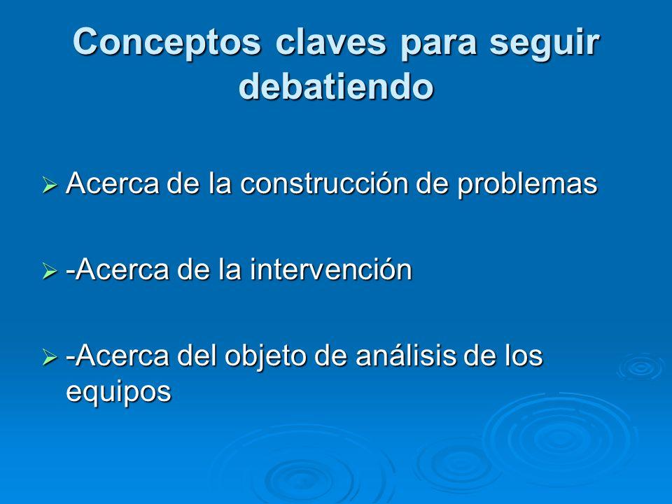Conceptos claves para seguir debatiendo Acerca de la construcción de problemas -Acerca de la intervención -Acerca del objeto de análisis de los equipo