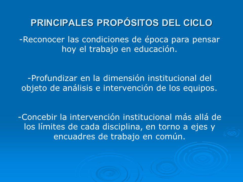 PRINCIPALES PROPÓSITOS DEL CICLO -Reconocer las condiciones de época para pensar hoy el trabajo en educación.