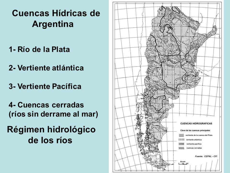Cuencas Hídricas de Argentina 1- Río de la Plata 2- Vertiente atlántica 3- Vertiente Pacífica 4- Cuencas cerradas (ríos sin derrame al mar) Régimen hi