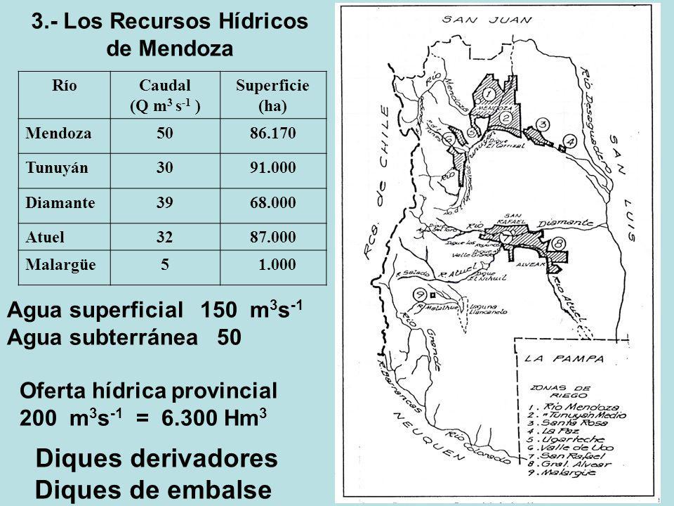 RíoCaudal (Q m 3 s -1 ) Superficie (ha) Mendoza5086.170 Tunuyán3091.000 Diamante3968.000 Atuel3287.000 Malargüe5 1.000 Agua superficial 150 m 3 s -1 A