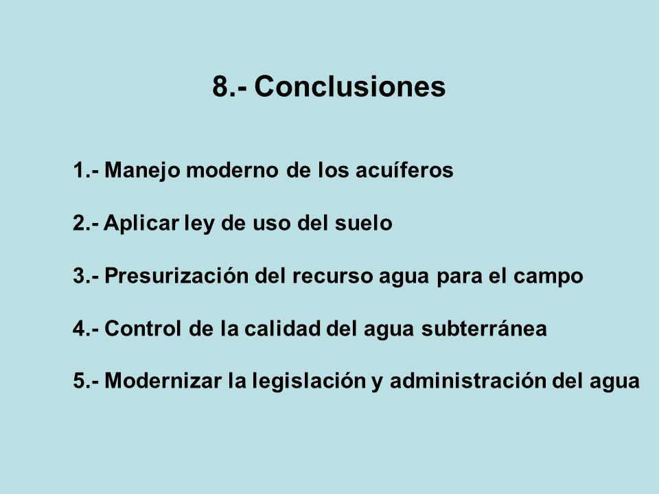 8.- Conclusiones 1.- Manejo moderno de los acuíferos 2.- Aplicar ley de uso del suelo 3.- Presurización del recurso agua para el campo 4.- Control de