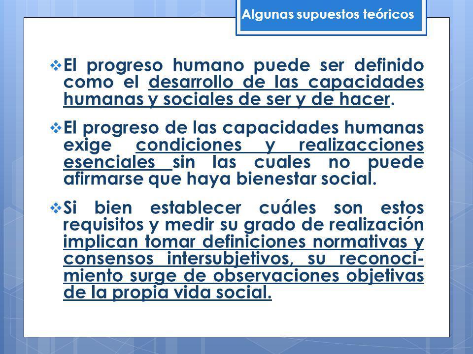 El progreso humano puede ser definido como el desarrollo de las capacidades humanas y sociales de ser y de hacer. El progreso de las capacidades human