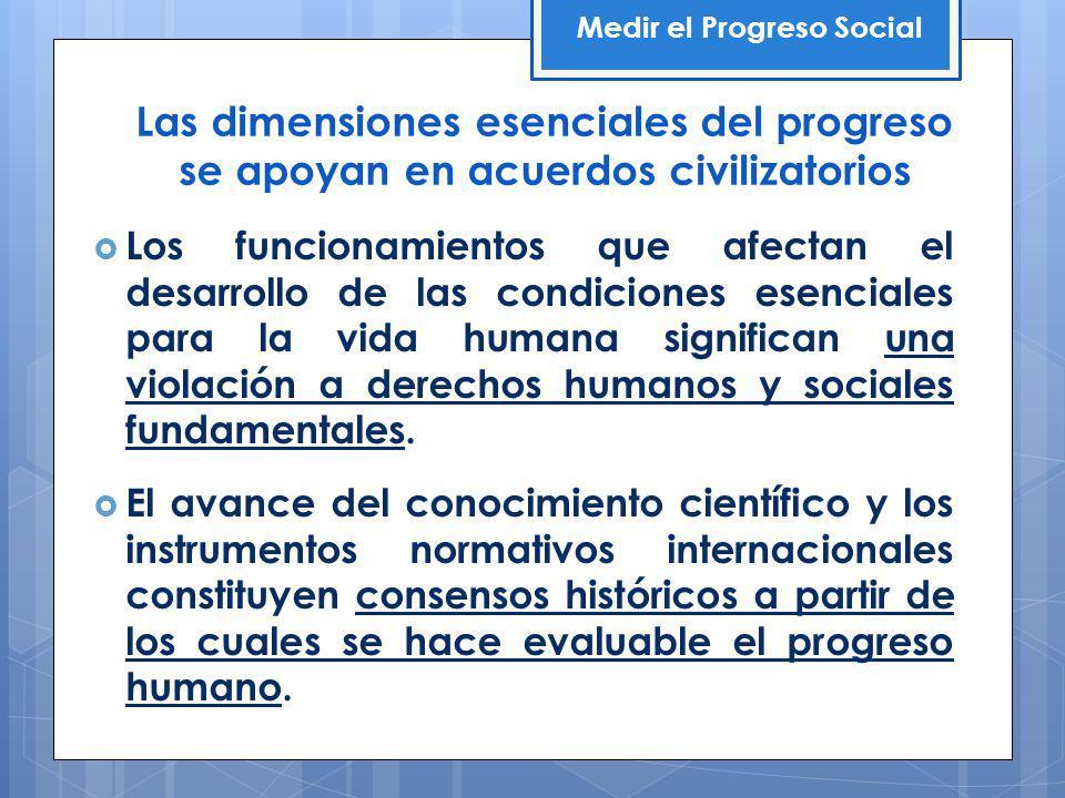 Las dimensiones esenciales del progreso se apoyan en acuerdos civilizatorios Los funcionamientos que afectan el desarrollo de las condiciones esenciales para la vida humana significan una violación a derechos humanos y sociales fundamentales.