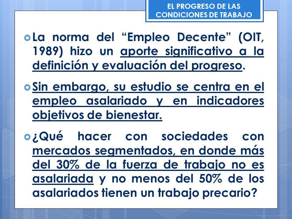 EL PROGRESO DE LAS CONDICIONES DE TRABAJO La norma del Empleo Decente (OIT, 1989) hizo un aporte significativo a la definición y evaluación del progre