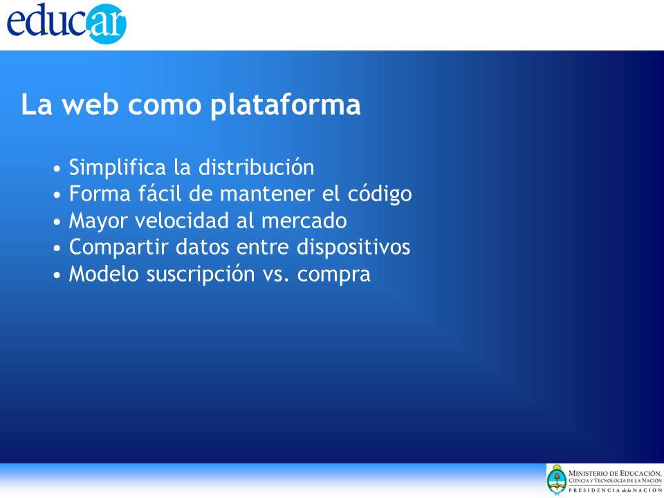La web como plataforma Simplifica la distribución Forma fácil de mantener el código Mayor velocidad al mercado Compartir datos entre dispositivos Modelo suscripción vs.