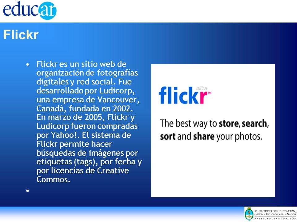 Flickr Flickr es un sitio web de organización de fotografías digitales y red social. Fue desarrollado por Ludicorp, una empresa de Vancouver, Canadá,