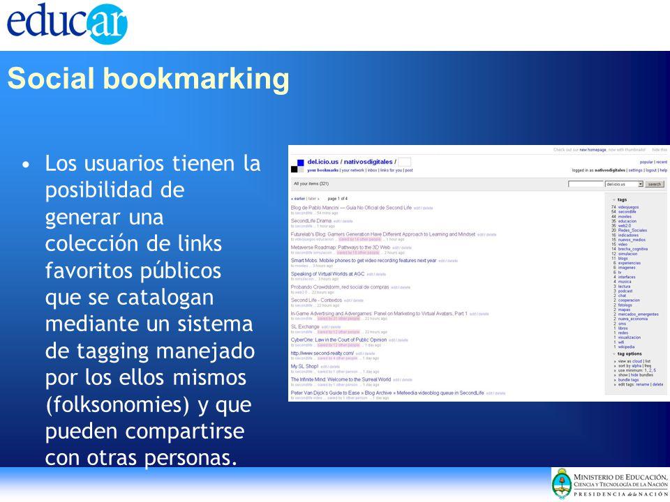 Los usuarios tienen la posibilidad de generar una colección de links favoritos públicos que se catalogan mediante un sistema de tagging manejado por l