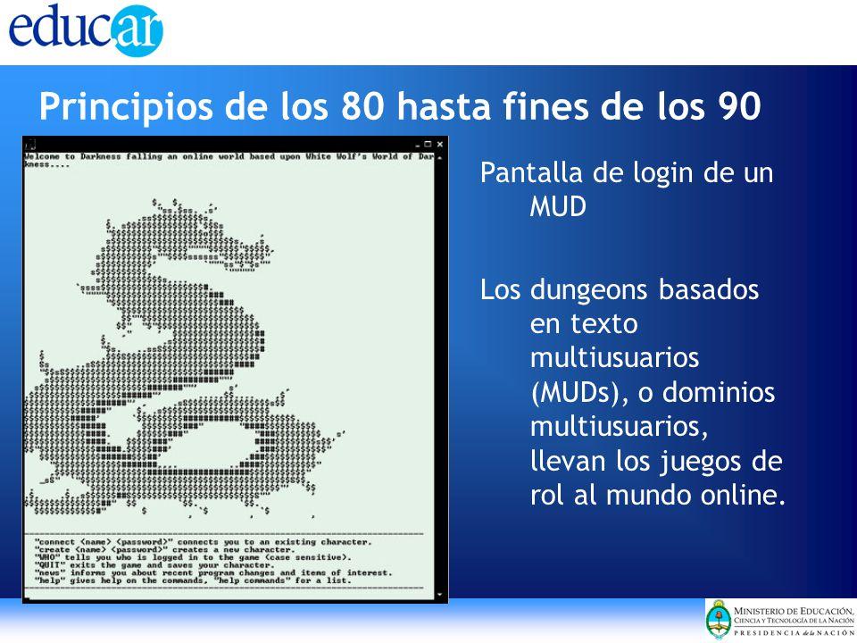 Principios de los 80 hasta fines de los 90 Pantalla de login de un MUD Los dungeons basados en texto multiusuarios (MUDs), o dominios multiusuarios, llevan los juegos de rol al mundo online.