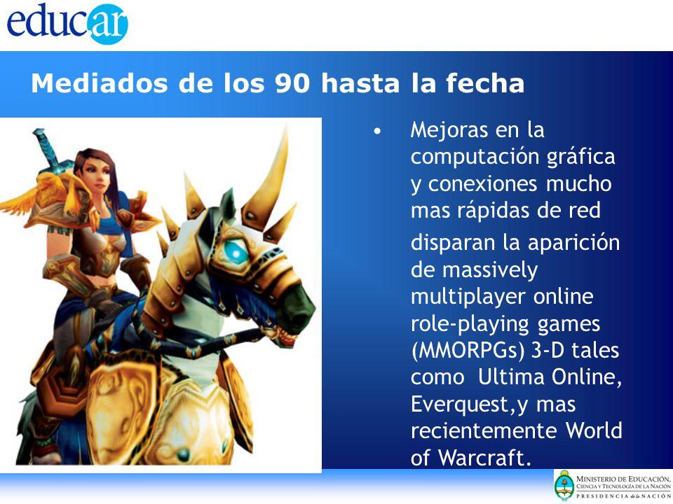 Mediados de los 90 hasta la fecha Mejoras en la computación gráfica y conexiones mucho mas rápidas de red disparan la aparición de massively multiplayer online role-playing games (MMORPGs) 3-D tales como Ultima Online, Everquest,y mas recientemente World of Warcraft.