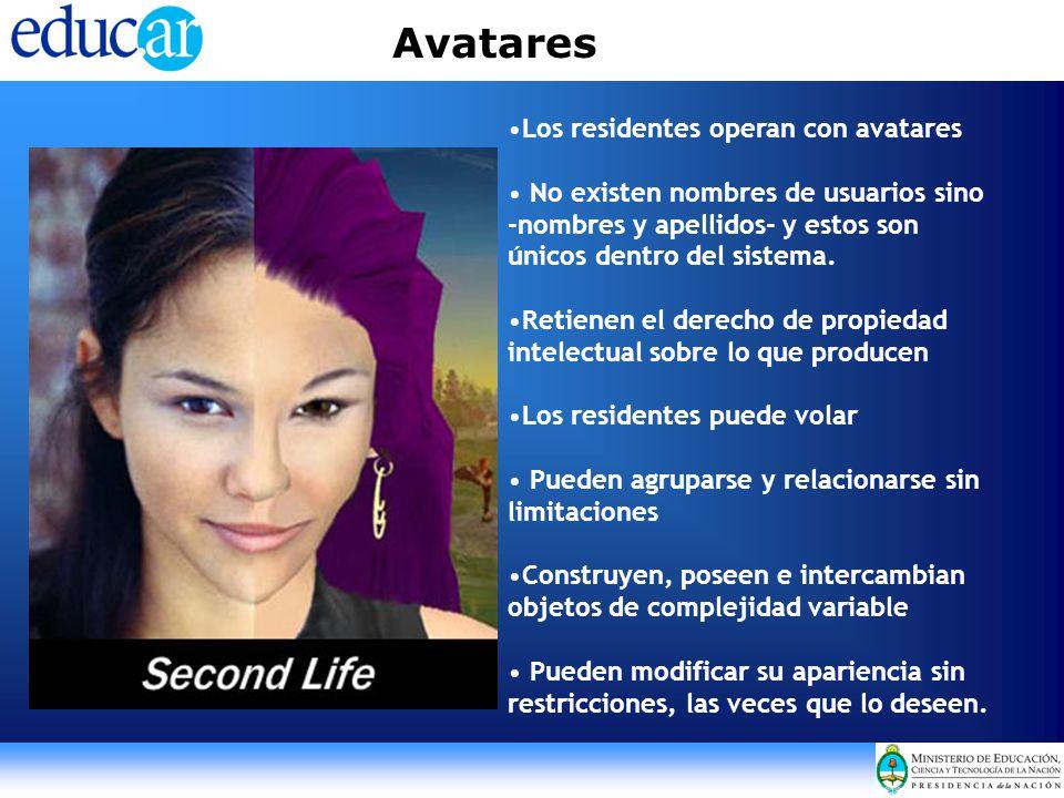 Avatares Los residentes operan con avatares No existen nombres de usuarios sino -nombres y apellidos- y estos son únicos dentro del sistema. Retienen