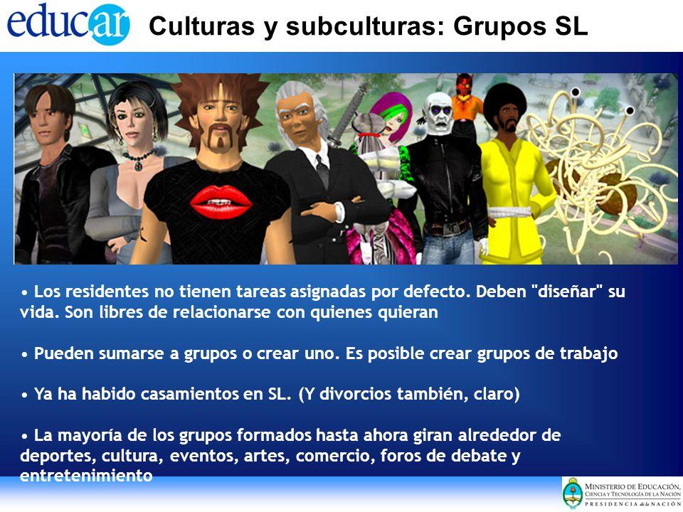 Culturas y subculturas: Grupos SL Los residentes no tienen tareas asignadas por defecto.