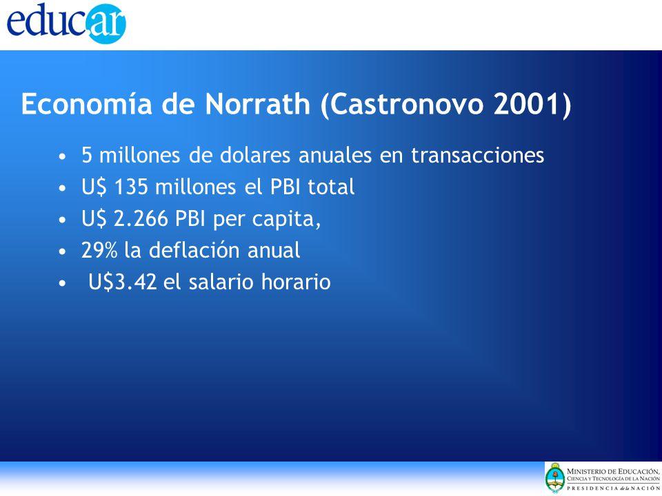 Economía de Norrath (Castronovo 2001) 5 millones de dolares anuales en transacciones U$ 135 millones el PBI total U$ 2.266 PBI per capita, 29% la deflación anual U$3.42 el salario horario