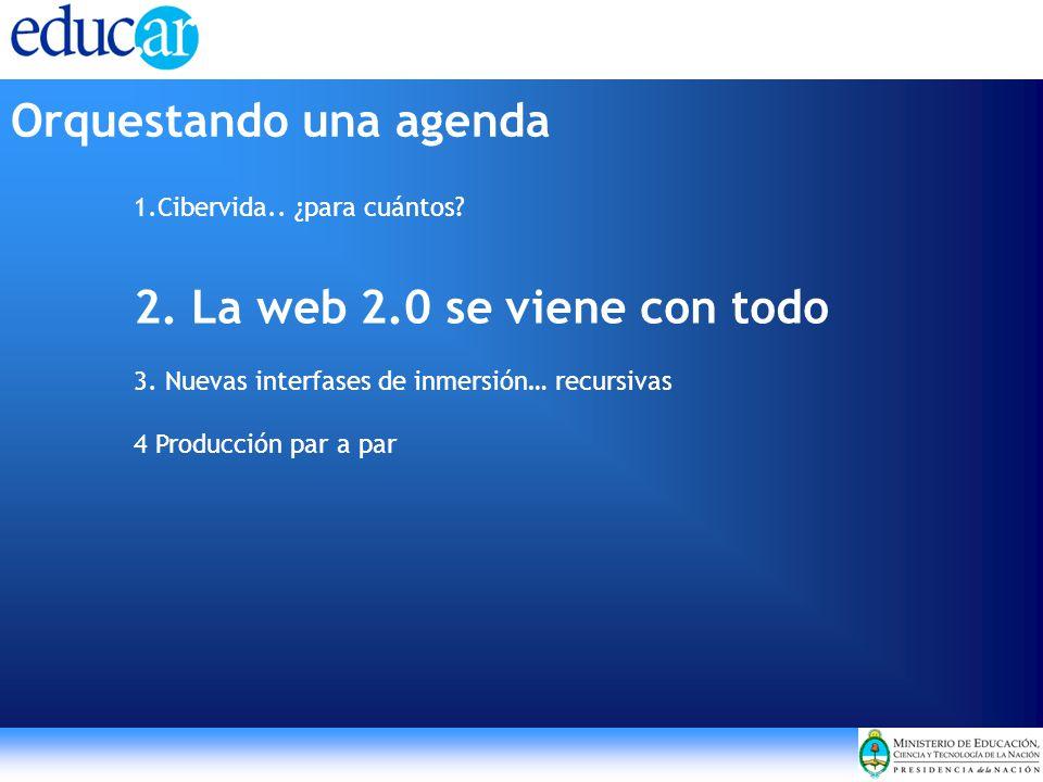 1.Cibervida.. ¿para cuántos? 2. La web 2.0 se viene con todo 3. Nuevas interfases de inmersión… recursivas 4 Producción par a par Orquestando una agen