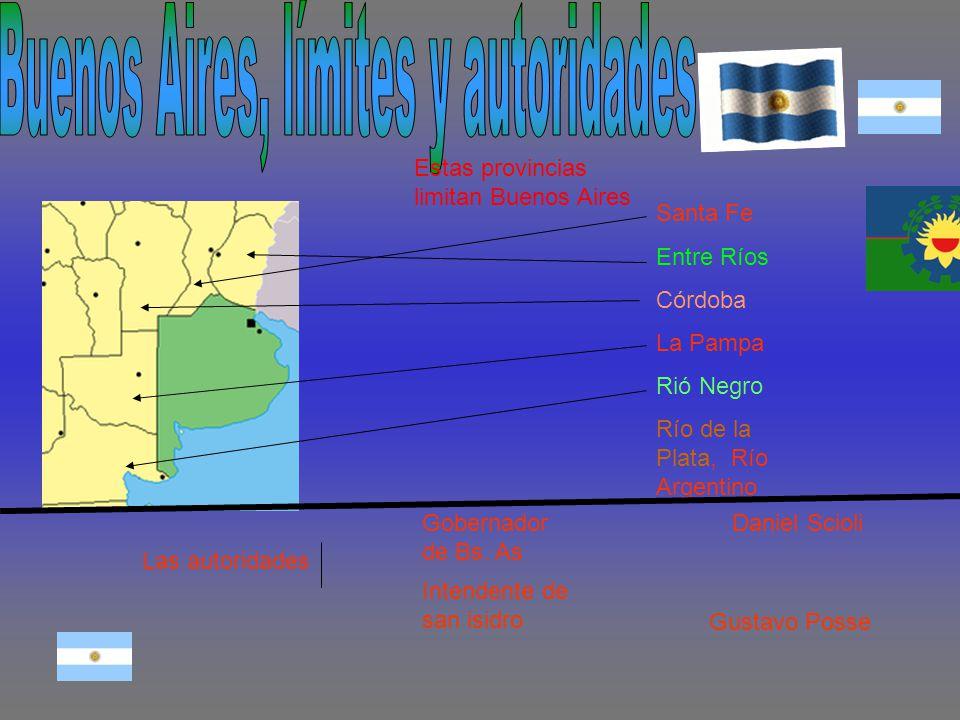 Estas provincias limitan Buenos Aires Santa Fe Entre Ríos Córdoba La Pampa Rió Negro Río de la Plata, Río Argentino Las autoridades Gobernador de Bs.