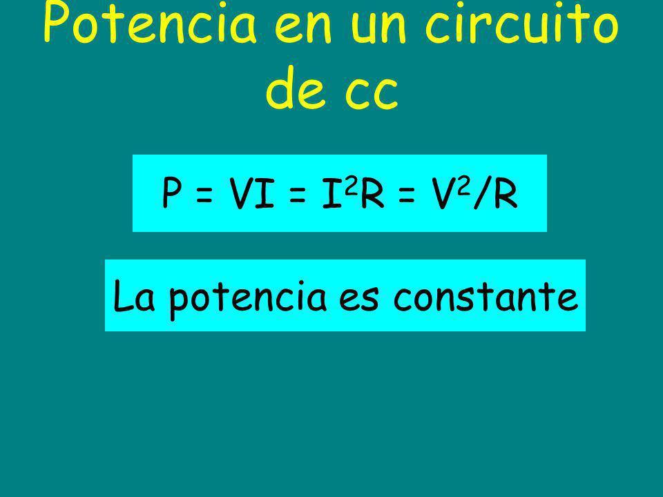 Potencia en un circuito de cc La potencia es constante P = VI = I 2 R = V 2 /R