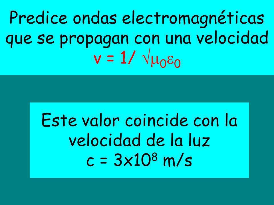 Predice ondas electromagnéticas que se propagan con una velocidad v = 1/ 0 0 Este valor coincide con la velocidad de la luz c = 3x10 8 m/s