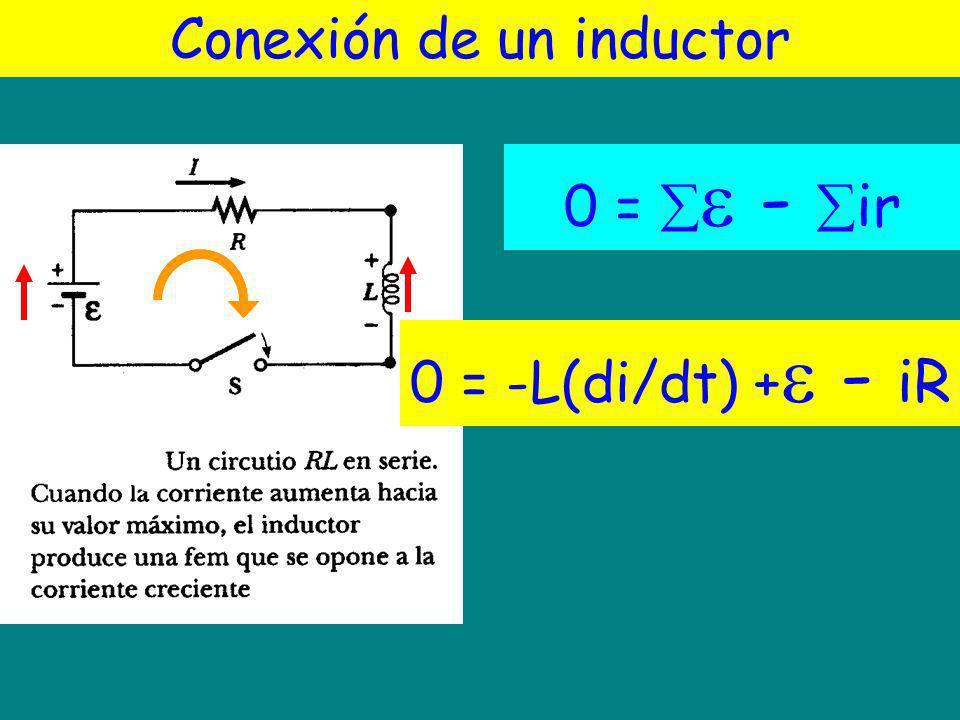 Conexión de un inductor 0 = - ir a a 0 = -L(di/dt) + - iR