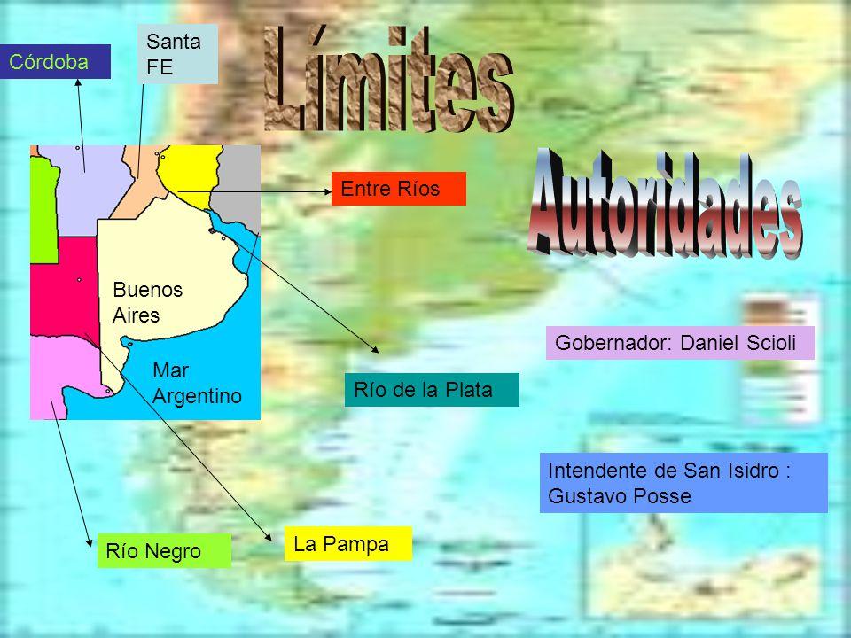 La Pampa Río Negro Córdoba Santa FE Buenos Aires Entre Ríos Mar Argentino Río de la Plata Gobernador: Daniel Scioli Intendente de San Isidro : Gustavo Posse