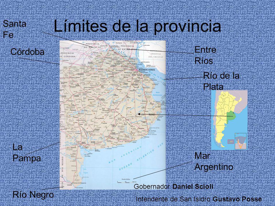 Límites de la provincia Mar Argentino Córdoba La Pampa Río de la Plata Entre Ríos Santa Fe Río Negro Gobernador Daniel Scioli Intendente de San Isidro