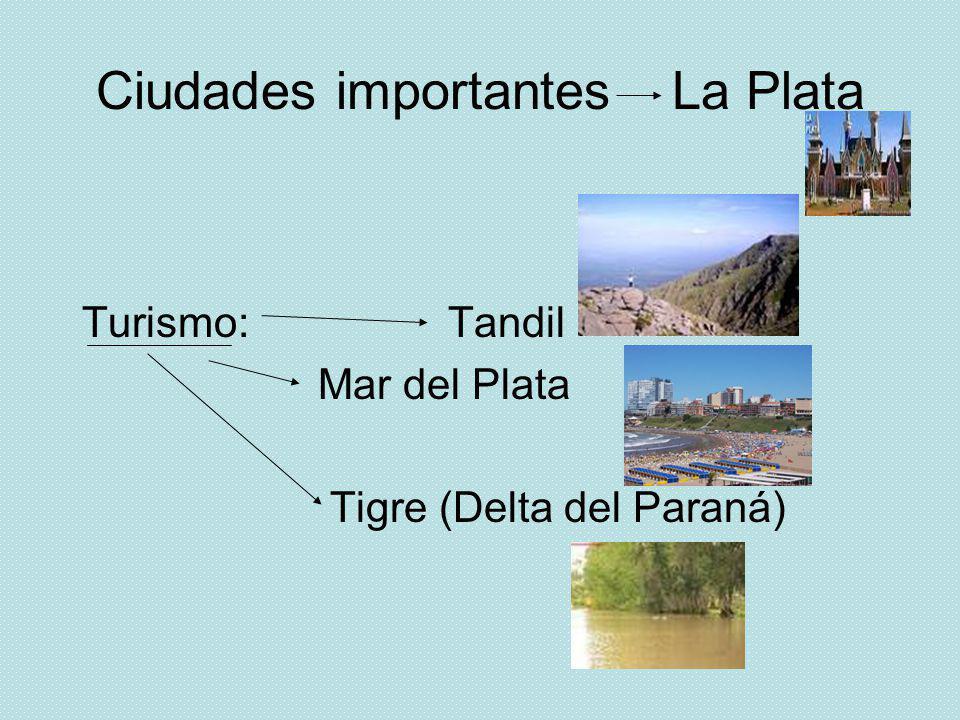 Ciudades importantes La Plata Turismo: Tandil Mar del Plata Tigre (Delta del Paraná)