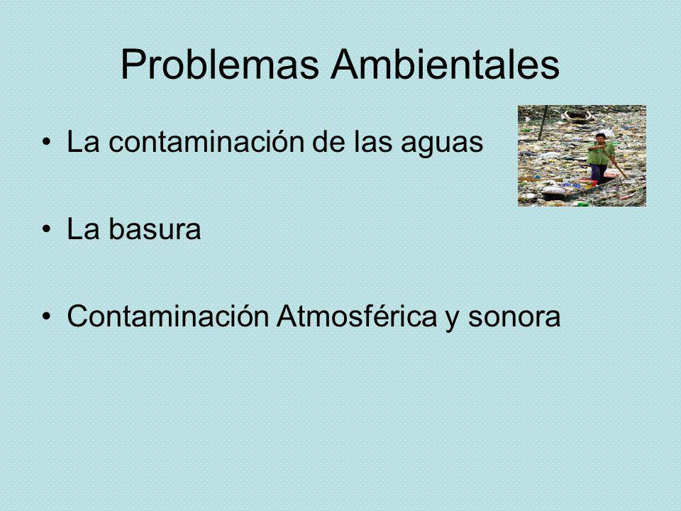 Problemas Ambientales La contaminación de las aguas La basura Contaminación Atmosférica y sonora