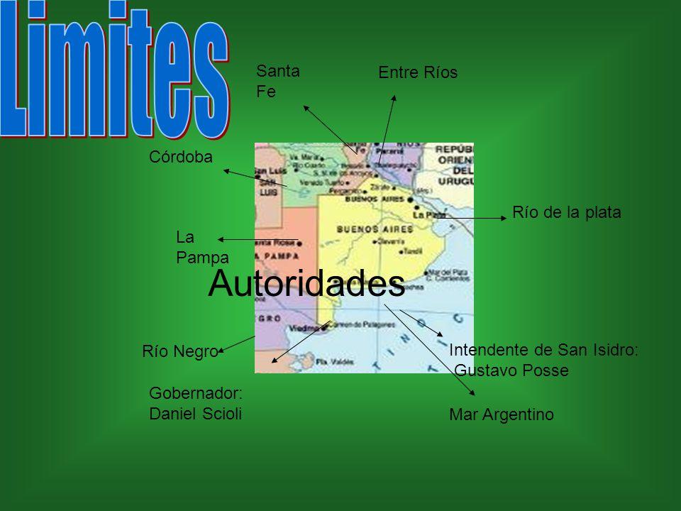 La Pampa Córdoba Santa Fe Entre Ríos Río Negro Río de la plata Mar Argentino Gobernador: Daniel Scioli Autoridades Intendente de San Isidro: Gustavo Posse