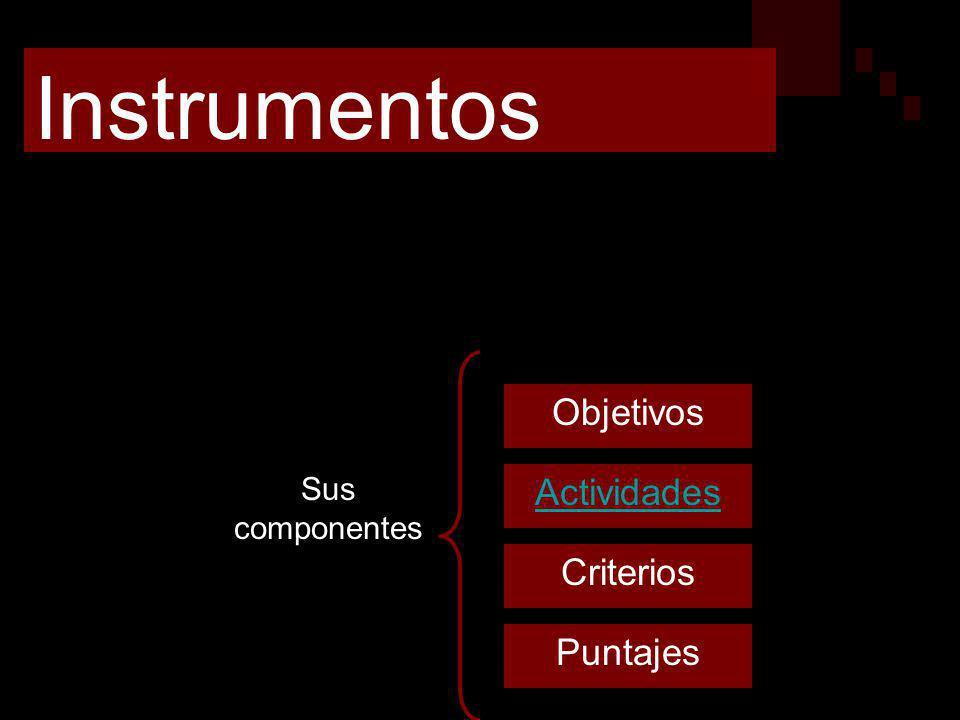 Instrumentos Herramientas que permiten recoger datos, para juzgarlos en base a parámetros previamente establecidos Criterios Objetivos Actividades Pun