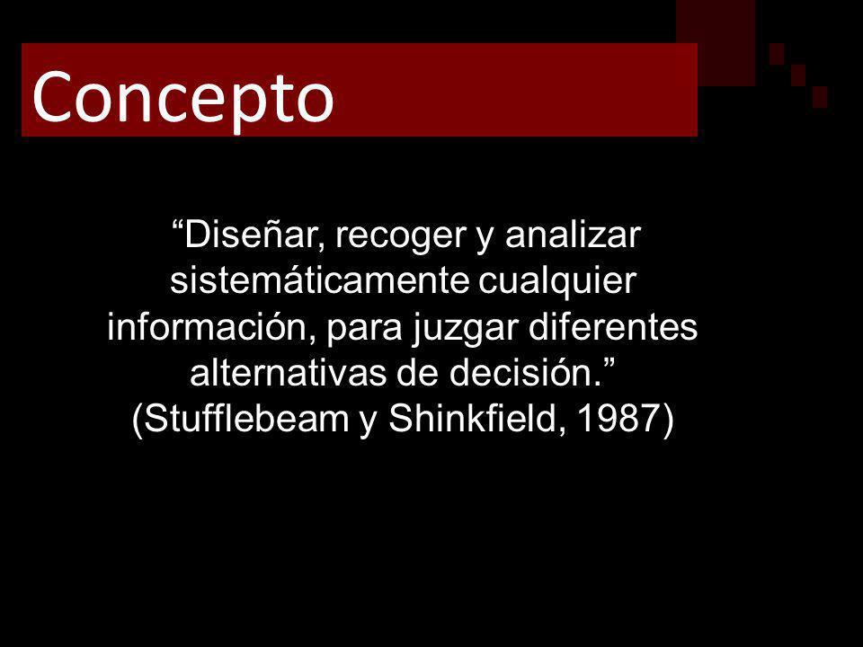 Diseñar, recoger y analizar sistemáticamente cualquier información, para juzgar diferentes alternativas de decisión. (Stufflebeam y Shinkfield, 1987)